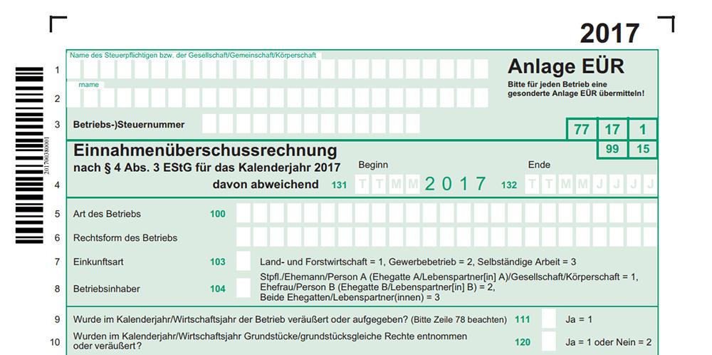 anlage er 2017 - Einnahmenuberschussrechnung Beispiel