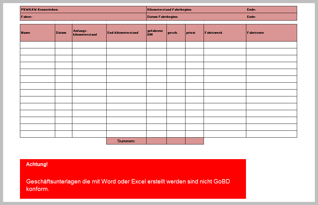 Fahrtenbuch Vorlage Kostenlos Zum Download 15