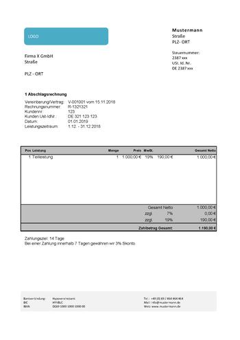 Rechnungsvorlagen Muster Und Beispiele Zum Download